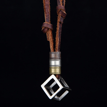100% Genuine Leather Men Necklaces Pendants With Box Punk Vintage Adjustable Brown Rope Chain Male Jewelry Mens Jewellery(China (Mainland))