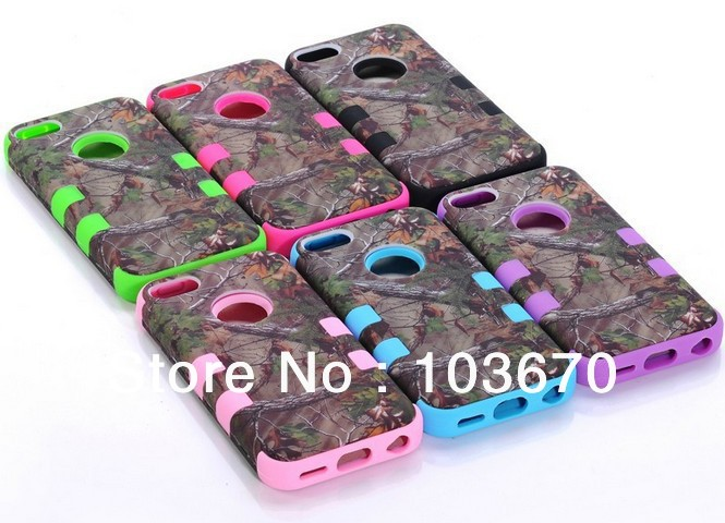 Deep Forest Tree Heavy Duty Impact Hybrid Hard Silicone Rubber Rugged Combo Cover Case for iPhone 5C, Free Shipping 10pcs/lot(China (Mainland))