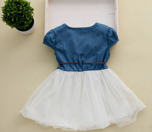 Baby Clothes Girl Clothes Denim Short-Sleeved Summer Dress Clothes Stitching