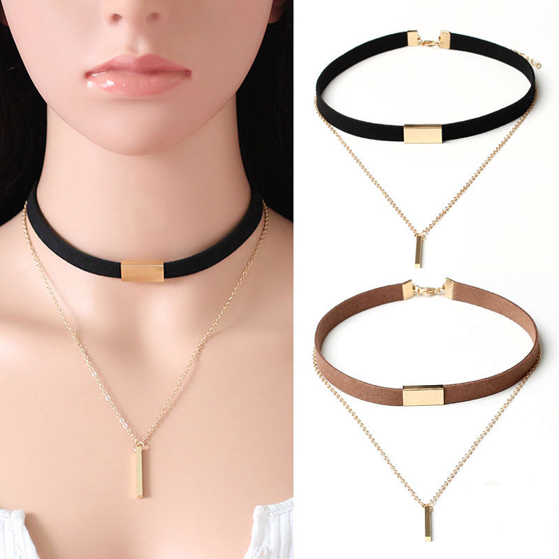 Fashion Black Velvet Choker Necklace Pendant Chain Of Gold Chocker For Women Colliers Collier Femme