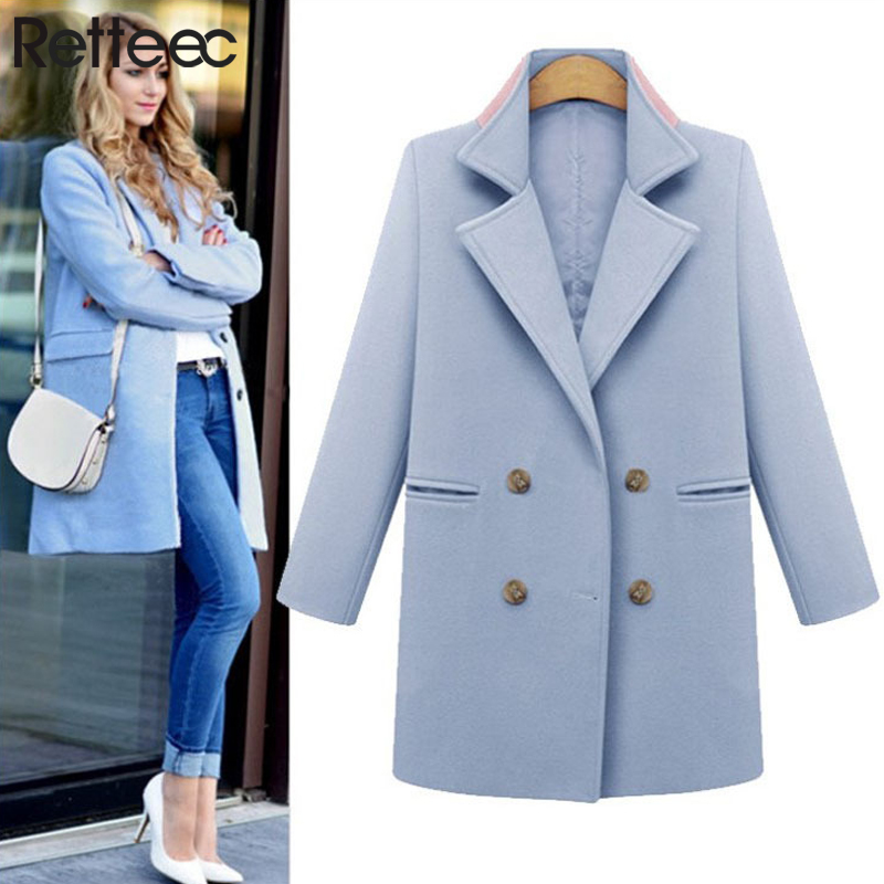 Coats Blends Double Breasted Turn-Down Collar Full Sleeve Sky Blue Slim Pink Long Basic Winter Coat Women(China (Mainland))