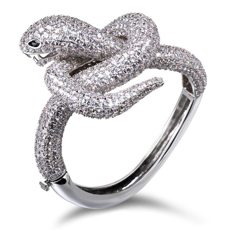 latest 2014 snake shape full zirconia bangle bracelet top quality christmas gift.<br>