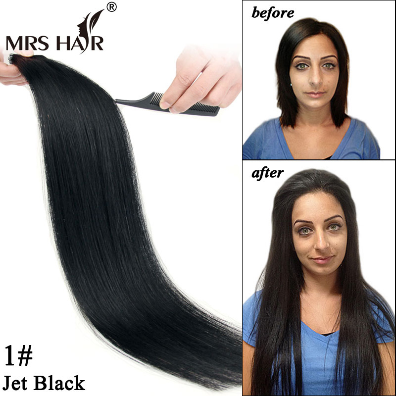 1# Jet Black Tape Hair Brazilian Remy Straight 2Double Sided Adhesive Weft Extensions 16 inch 18 20 22 24 Promotion - MrsHair store