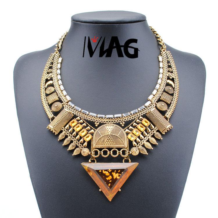 Viennois Fashion Jewelry Gun Plating Navy Yellow Crystal Statement Chain Rhinestone Triangle Necklace & Pendant Women(China (Mainland))