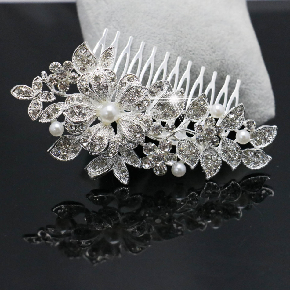 Trendy Hairwear Wedding Tiara Sparkling Silver Plated Crystal Pearl Bridal Hair Combs Hair Jewelry Hair Accessories 70*56cm(China (Mainland))