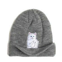 2016 middle finger fuck designer bonnet hat lady gorros for women men winter wool knitted hat cartoon cat patch beanies skullies(China (Mainland))