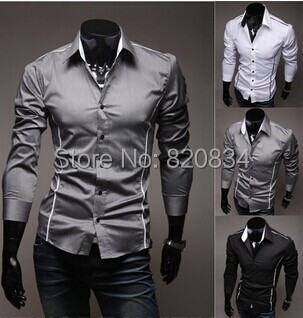 2014 Men's Shirts Long Sleeve Casual Solid Color Men Grey Spring Summer Fashion Slim Hot - Fashion-Show store