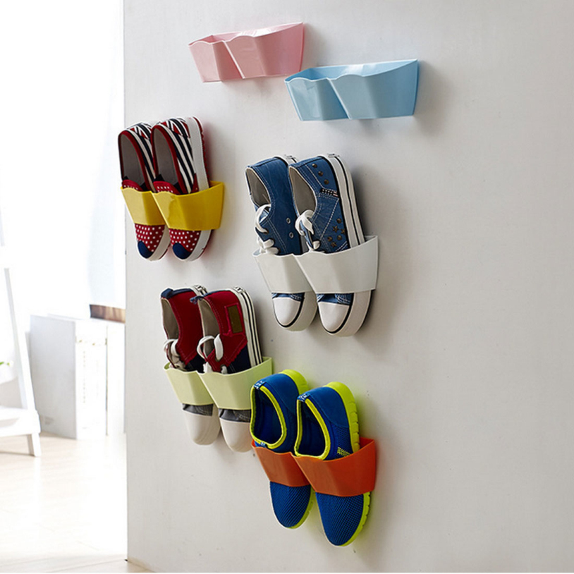 New Arrival Home Creative Plastic Shoe Shelf Stand Cabinet Display Bedroom Wall shoes Rack storage Organizer Multi Color 1 Pcs(China (Mainland))