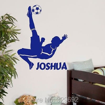free shipping Personalised football sport wall mural vinyl decal art for boys rooms wall sticker home decoration boys decor -225(China (Mainland))