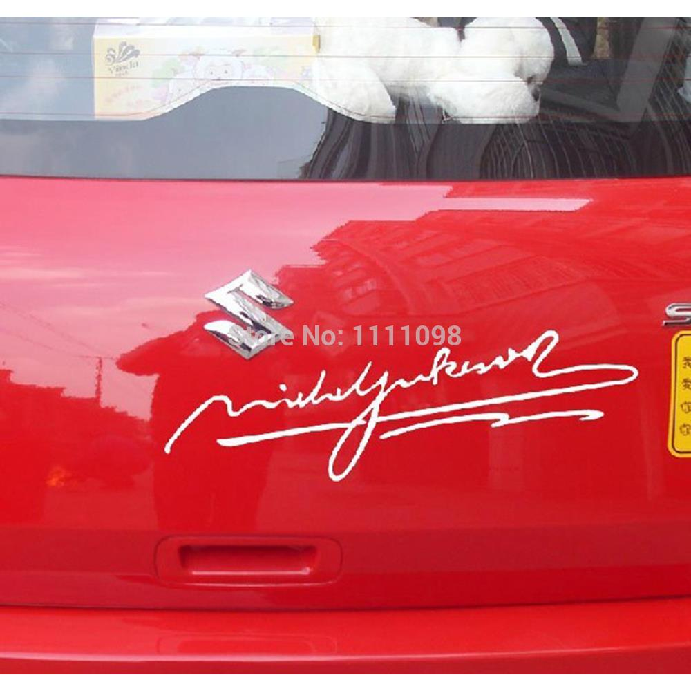 10 x Newest Signature Sticker by the Michael Jackson Car Stickers Car Decal for Toyota Renault Opel Lada Tesla VW Chevrolet(China (Mainland))