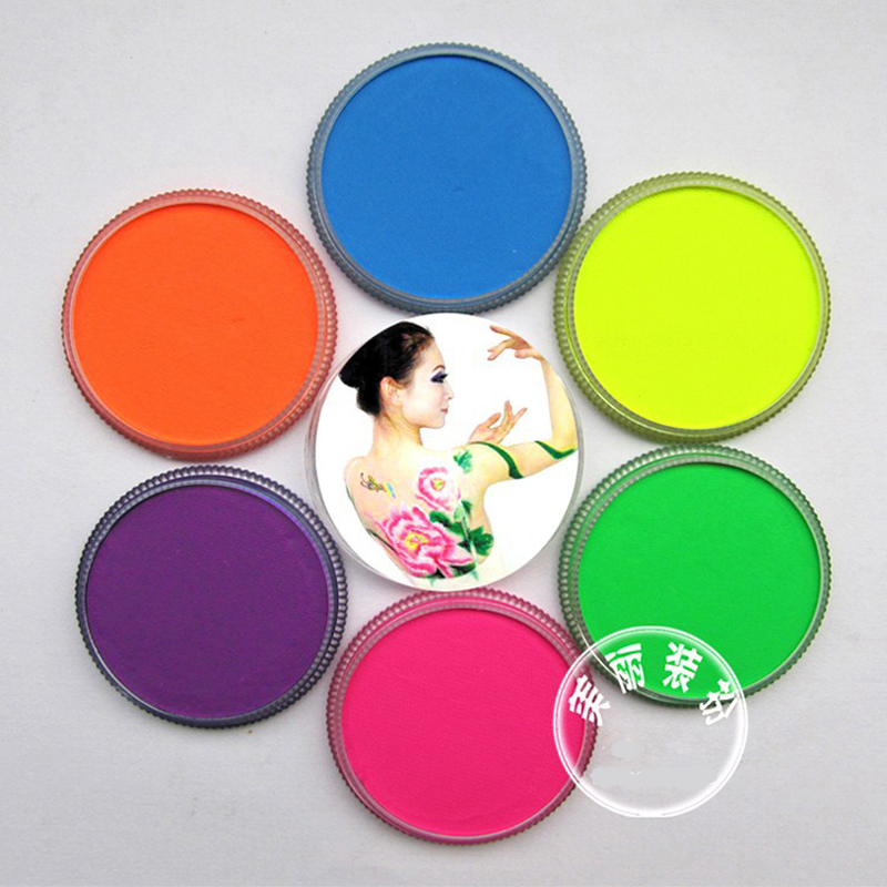 Neon body paint 6 colors for choice colored drawing pigment 30g /pc water based face makeup cream paste Halloween UV glow paint(China (Mainland))