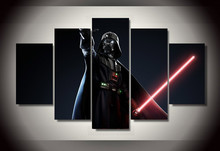 Framed Printed Star Wars Movie 5 piece picture painting wall art children's room decor poster canvas Free shipping/ny-803