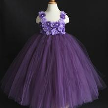 2016 New Design Purple Violet Mixed Flower Girl Tutu Dress Birthday Party Princess Baby Girl Wedding Dresses Clothing