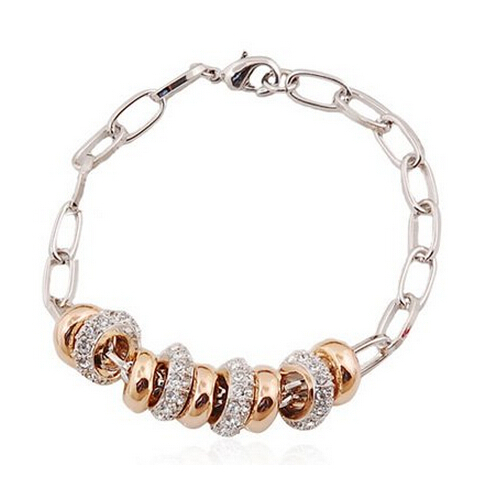 NEW Hotselling Wholesales 24K Real Gold Plated Alloy 888 Rihinestons Strand 9 circles Bracelet fashion jewelry(China (Mainland))