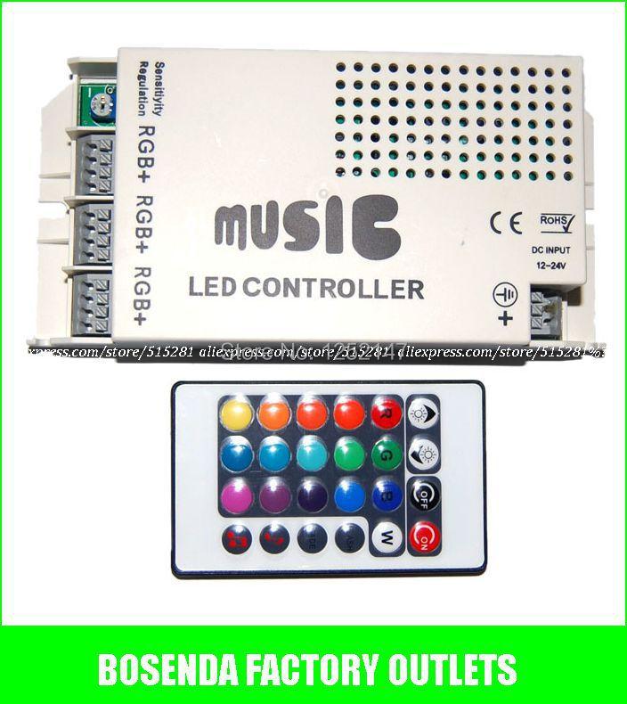 DC12-24V 24 Keys Wireless IR Remote Control LED Music Sound rgb Controller with remote For RGB Strip/lamp Free Ship(China (Mainland))