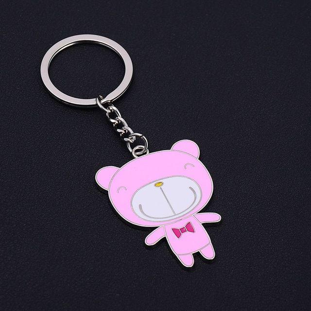 Новый оптовая продажа мода каваи мультфильм розовый черный медведь брелок прекрасный днем медведя брелок диски из мужчин женщин подарок любовника брелок