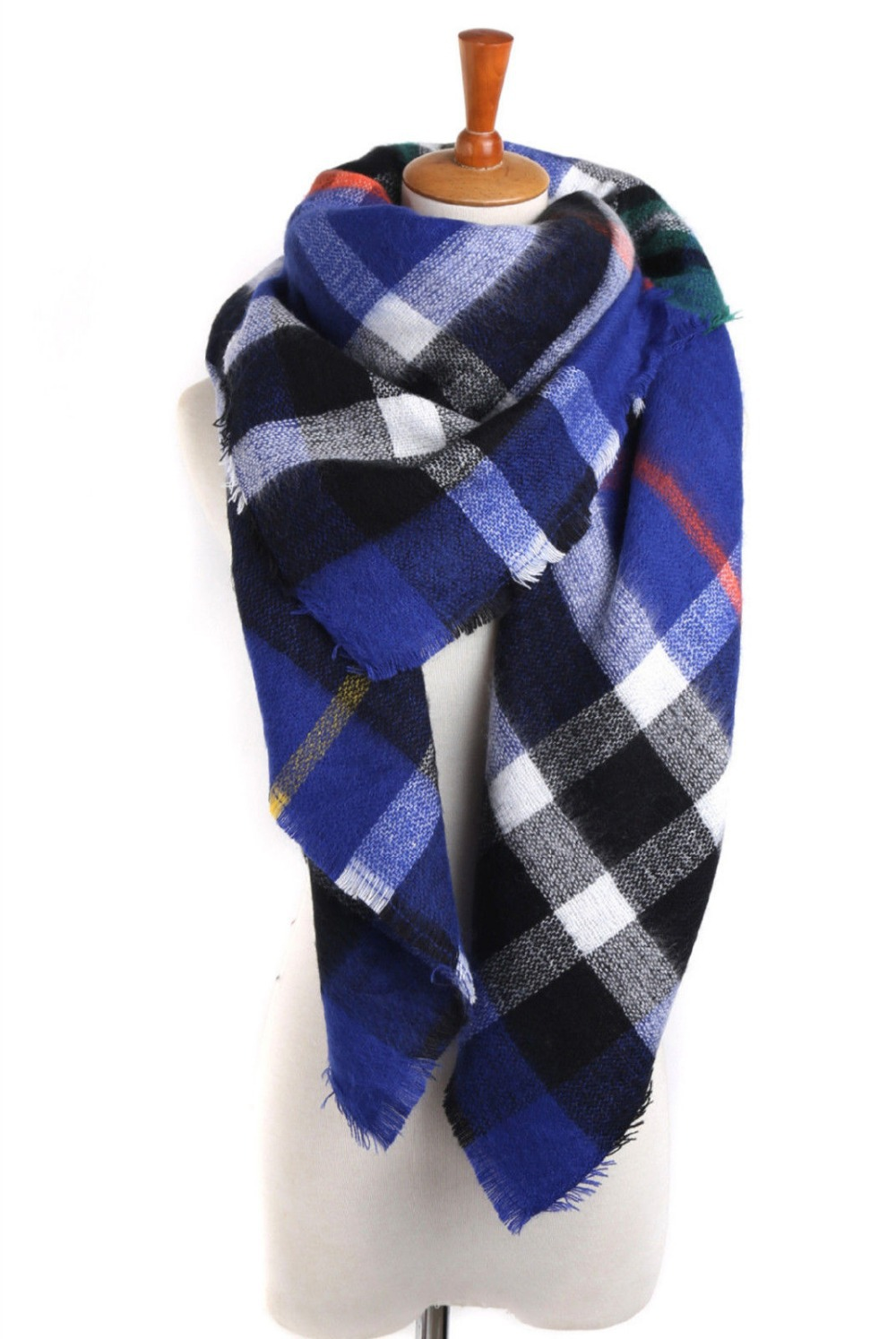 Lady Women Blanket royal bule comfortable warm oversized font b tartan b font scarf wrap shawl