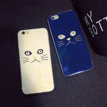 FOR iphone6s letters crown couple phone shell Apple 6plus blue cat face with all-inclusive soft shell protective sleeve tide