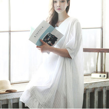 2016 new summer ultra loose cotton short sleeved dress collar women before and after V fashionable dress pregnant women vestidos(China (Mainland))