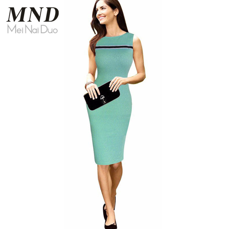 Women Summer Solid Casual Elegant Party O-neck Sleeveless Knee Length Bodycon Sheath Pencil Dress(China (Mainland))