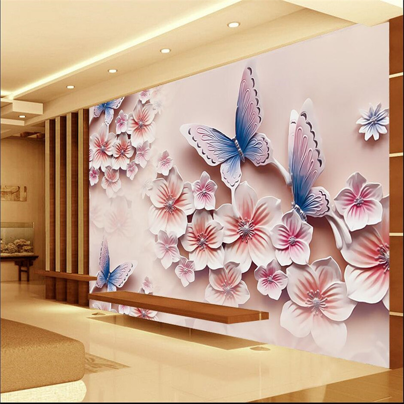 3d photo wallpaper relief murals tv backdrop romantic for Butterfly wall mural