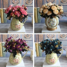 New Year Hot Vivid 6 Branches Autumn Artificial Fake Peony Flower Home Room Bridal Hydrangea Decor Real Touch Free Shipping(China (Mainland))