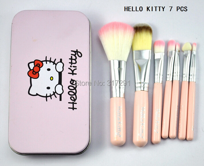 DHL 2015 new makeup hello kitty 7Pcs/set brush with leather pouch (120 PCS)(China (Mainland))