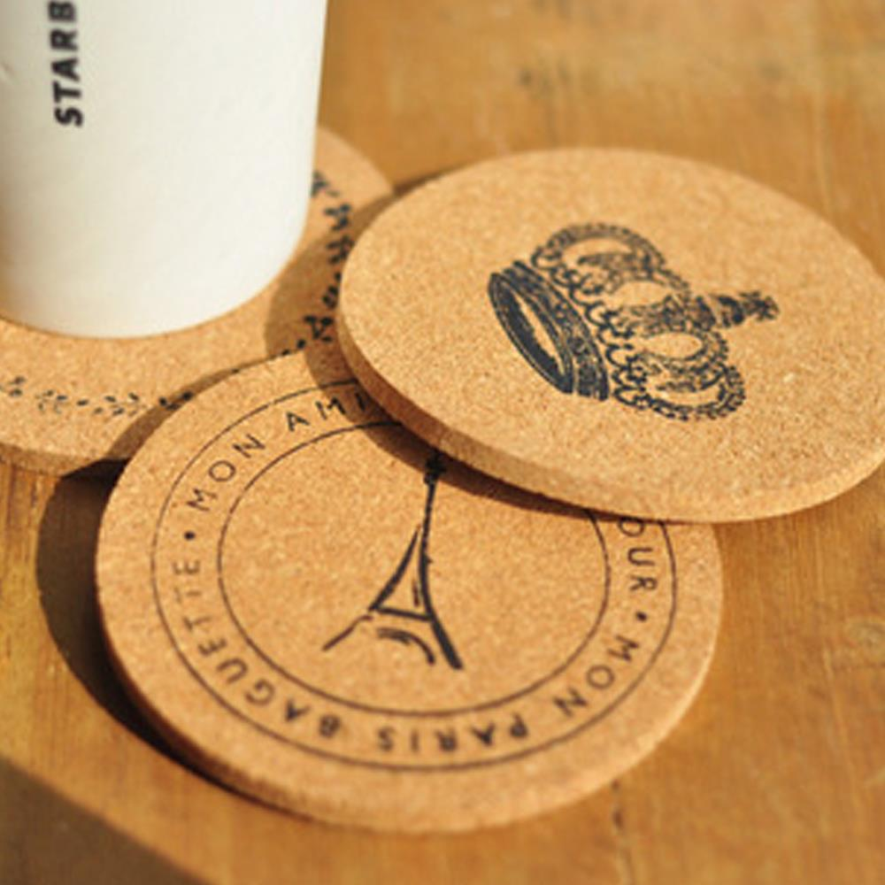 Lowest Price Dia. 10cm Lot of 4pcs Cork wood Drink Coaster Tea Coffee Cup Mat Kitchen Table Decor Drink Accessory Free Shipping(China (Mainland))