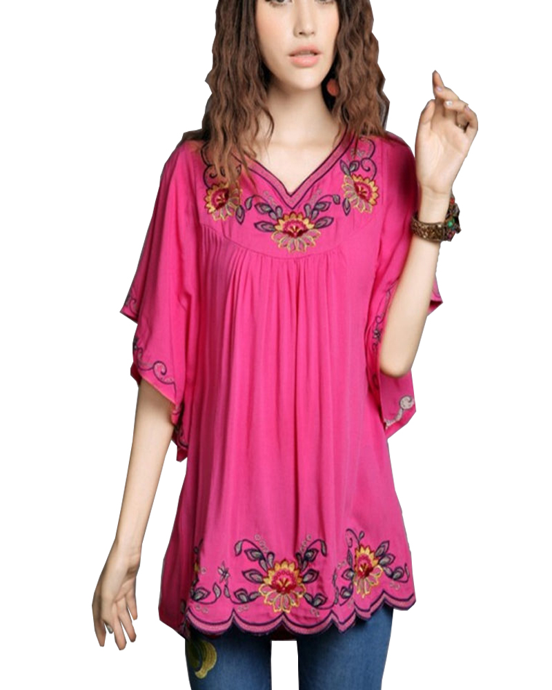 2017 New Hot vintage 70s mexican Ethnic Floral Hippie Women blouses / shirt Female Clothing Tops Tunic Long Sleeve B552
