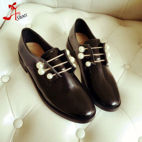 Fashion 2016 brand same design women's pearl beading tie shoes female rhinestone round toe flat heel shoes