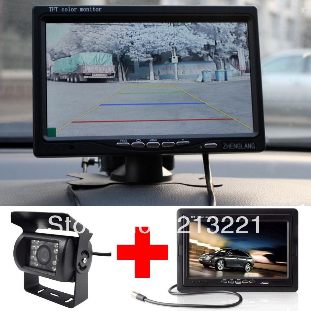 "7""tft LCD Monitor + 18LED IR Night vsion parking car reverse backup Rearview camera system kit Universal Auto Van Bus Trailer(China (Mainland))"