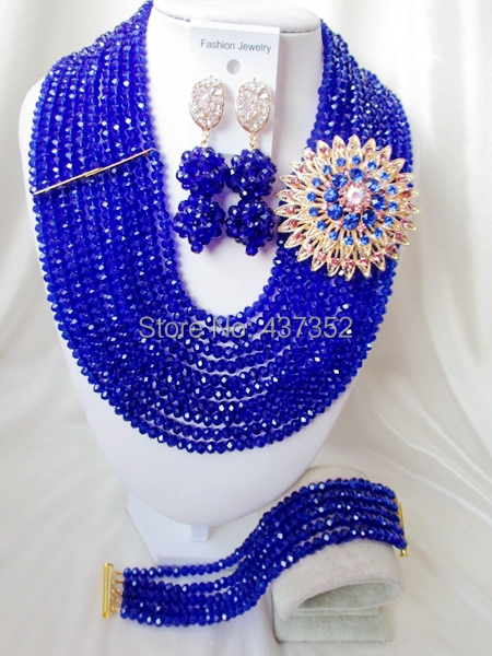 Fashion Royal Blue Nigerian Beads Crystal Necklaces Bracelet Earrings African Wedding Beads Jewelry Set  CPS-2178<br>