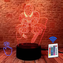 Luz-up vingadores homem de ferro modelo 3d ilusão led dormir nightlight luz colorida spiderman marvel thonas figura brinquedos(China)