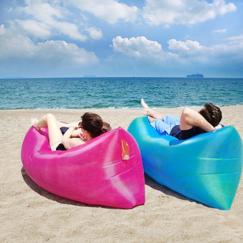Out Sleeping Bag 260*70 cm Airbags Lazy Sofa Inflatable Air Sofa Bed Lazy Bones Beach Lounge Foldable Camping Fast Sleeping Bed(China (Mainland))