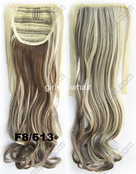 """synthetic ribbon curl ponytail hairpiece pony tail hair extension Color F8/613,22"""" 80grams RP888 1pc"""
