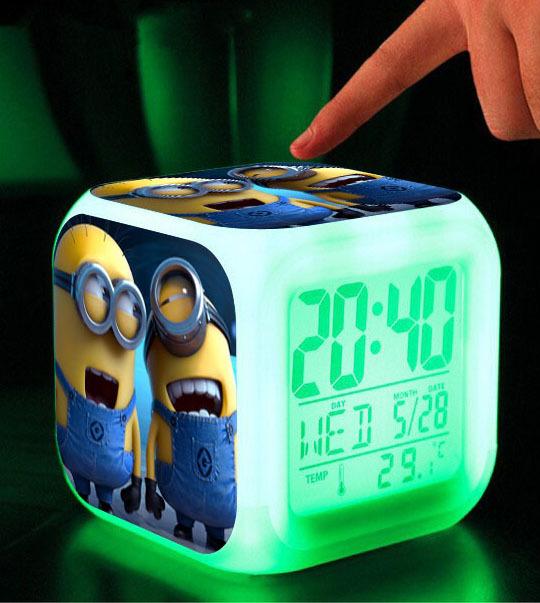Christmas gift Minions despicable me Toys Colors Changing Digital Alarm Clock Olaf brinquedos baby toy pokemon anna elsa(China (Mainland))