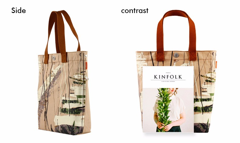 Preppy Style Tote Bag  Ladies Retro Printing Canvas Hand Bag Durable Simple Designer Hand Bag Women Casual Single Shoulder