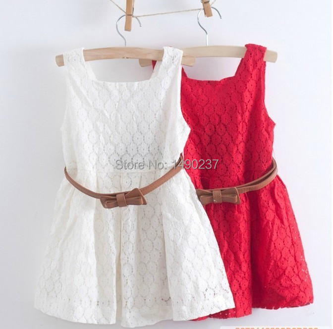 2014 summer new models Kids Belt Lace Vest Dress Princess Girls dress red~white baby - The king clothes 1 store