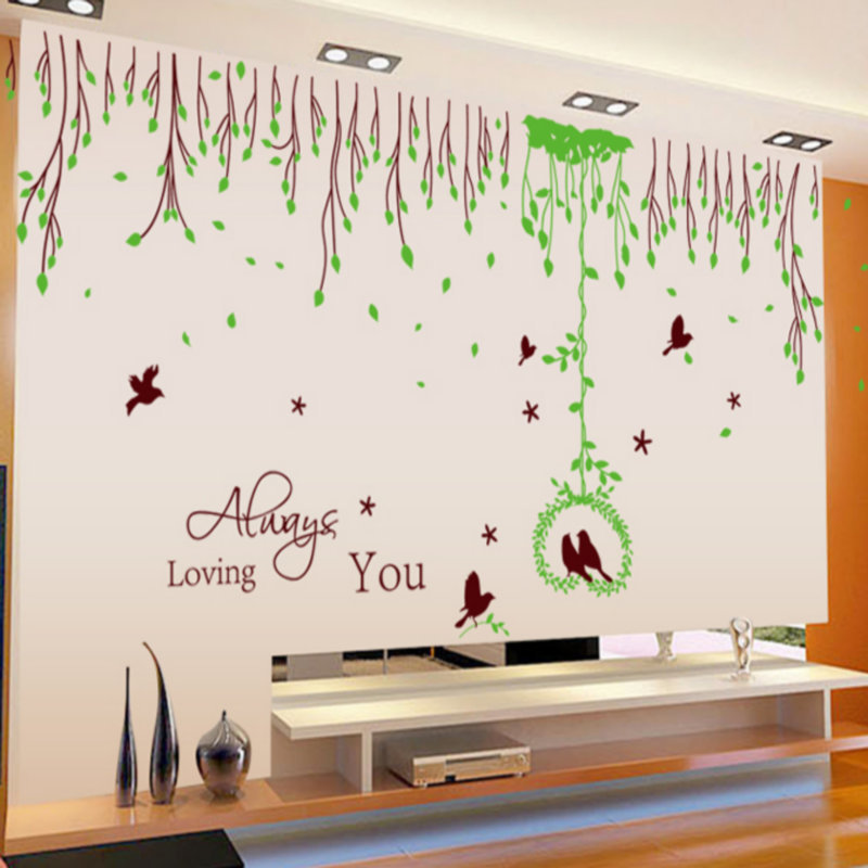 2015 Large Green Grass Wall Living Room Tv Stickers Bird House - Hao yu shopping center store