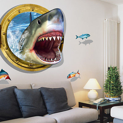 3d shark porthole views removable wall sticker pvc mural for Home decor 3d stickers