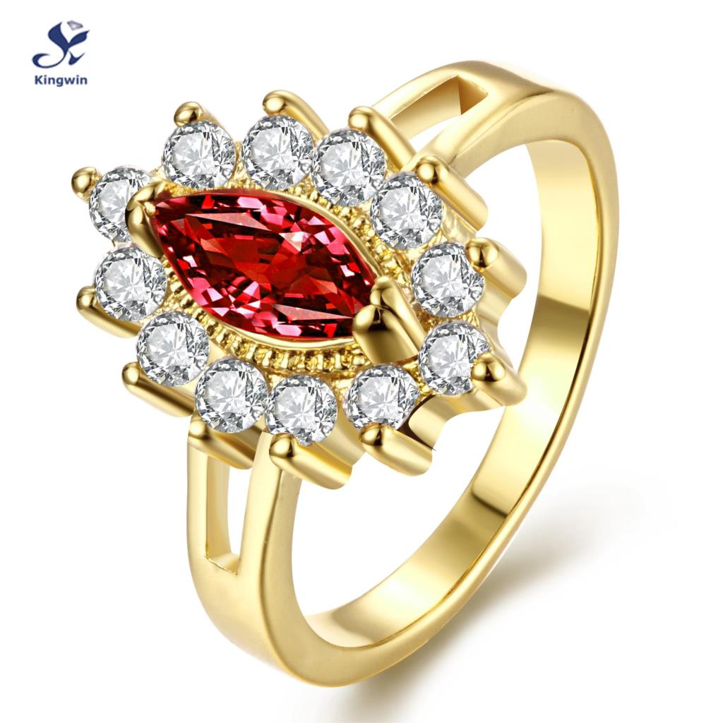 R113 A 8 18k real gold plated classice women silver Ring Marquise ruby and lab diamond