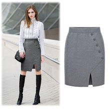 2016 Fashion Women Ladies High Waist Midi Bodycon Split skirt Slim Tube Stretch Pencil Skirt