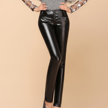 New PU Leather Pants 2015 Spring Women Females Black Full Leather Tight Slim Pencil Pants Trousers Clothing For Women(China (Mainland))