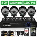 DEFEWAY 8 Channel 1080N DVR 1200TVL 720P HD Outdoor Security Camera System 1TB Hard Drive 8CH