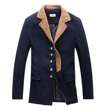 Men Trench Coat Autumn Winter Medium-Long Slim Fit Woolen Coats Brand Design Business Style Outdoor Cotton Windbreaker F1218(China (Mainland))