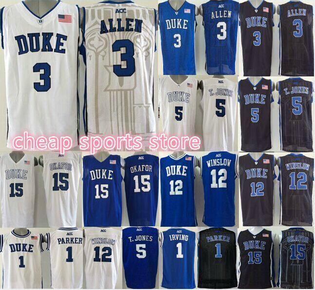 cheap Duke Blue Devils Jahlil Okafor Justise Winslow Tyus Jones Grayson Allen Parker Kyrie Irving ncaa College Basketball Jersey(China (Mainland))