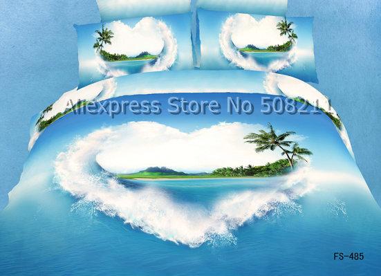 peinture l 39 huile ch rie bleu oc an mer motif coton couette housses de c. Black Bedroom Furniture Sets. Home Design Ideas