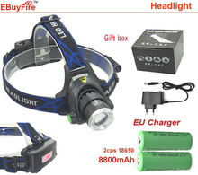 led Headlight waterproof zoom 18650 Headlamp Cree XM-L T6 led 2000LM rechargeable  Head lamp light +2x 18650 battery +Charger(China (Mainland))