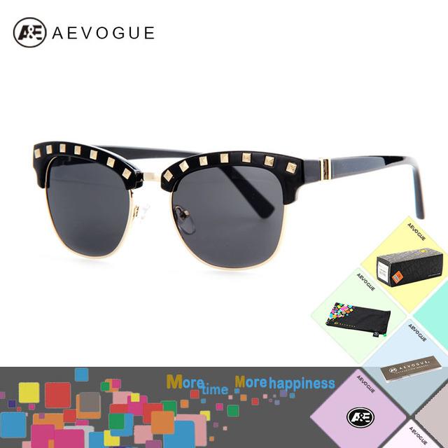 Aevogue с чехол мода марка винтаж солнцезащитные очки женщины полу без оправы заклепки кадров оптические солнцезащитные очки óculos UV400 AE0213
