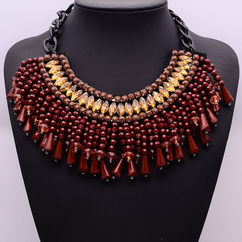 n01001 2014 New za fashion statement necklace red brand vintage collar beads accessories necklaces pendants chunky women Jewelry(China (Mainland))